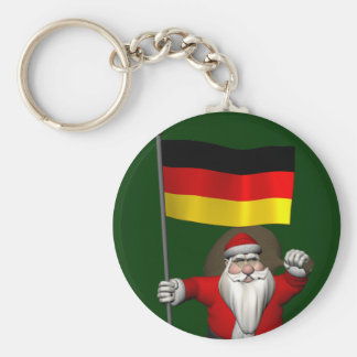 Patriotic Santa Claus With Ensign Of Germany Basic Round Button Keychain