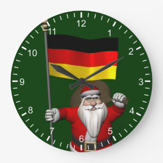 Patriotic Santa Claus With Ensign Of Germany Large Clock