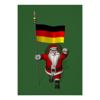 Patriotic Santa Claus With Ensign Of Germany Poster