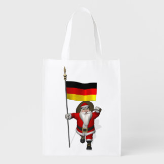 Patriotic Santa Claus With Ensign Of Germany Reusable Grocery Bag