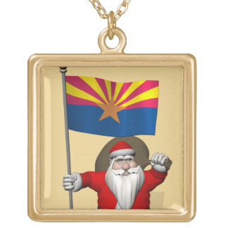 Patriotic Santa Claus With Flag Of Arizona Gold Plated Necklace