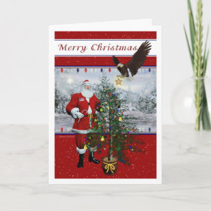patriotic santa merry christmas card - Patriotic Christmas Cards