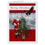 Patriotic Santa Merry Christmas Card