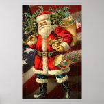 Patriotic Santa / Vintage Art Poster
