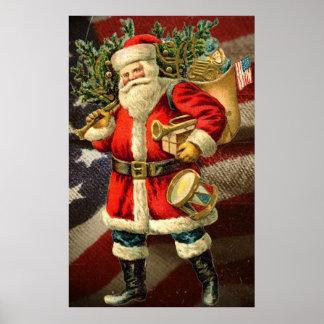 Patriotic Santa Vintage Art Poster