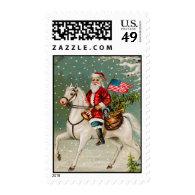 Patriotic Santa Vintage Christmas Stamps