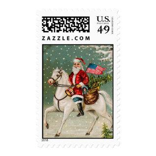 Patriotic Santa Vintage Christmas Stamps at Zazzle