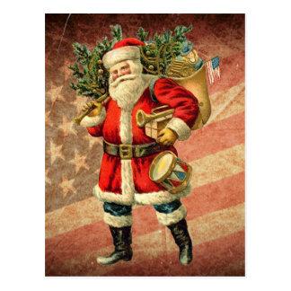Patriotic Santa / Vintage Postcard