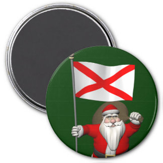 Patriotic Santa With Ensign Of Alabama 3 Inch Round Magnet