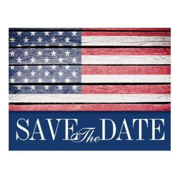 USA Themed Patriotic Save the Date Postcard Invitation