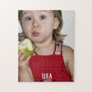 Patriotic Scene View Girl Eating Apple Puzzle