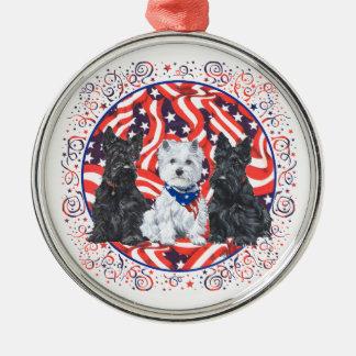 Patriotic Scotties and Westie Ornament