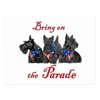 Patriotic Scotties Await the Big Parade Post Card