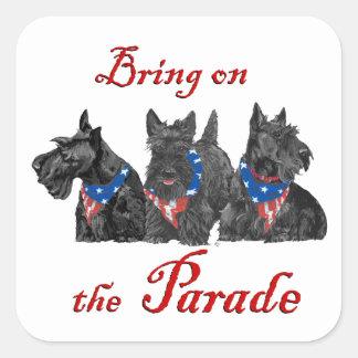 Patriotic Scotties Await the Big Parade Stickers