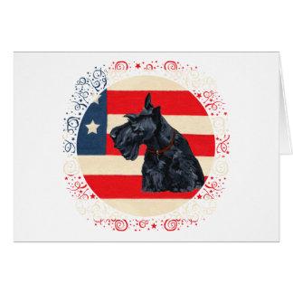 Patriotic Scottish Terrier on Flag Greeting Card