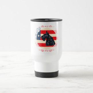 Patriotic Scottish Terrier on Flag Coffee Mugs