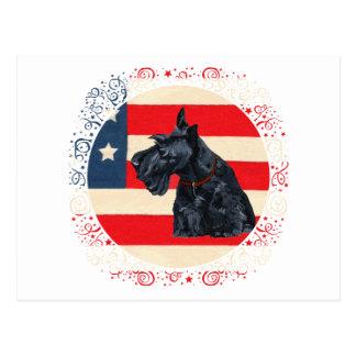 Patriotic Scottish Terrier on Flag Postcards