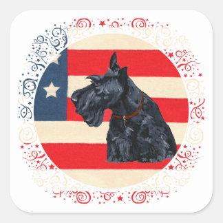 Patriotic Scottish Terrier on Flag Square Sticker