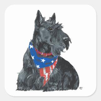 Patriotic Scottish Terrier Sticker