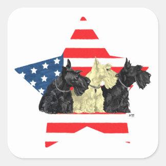 Patriotic Scottish Terriers on Star Square Sticker