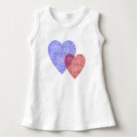 Patriotic Scribbleprint Hearts Infant Dress