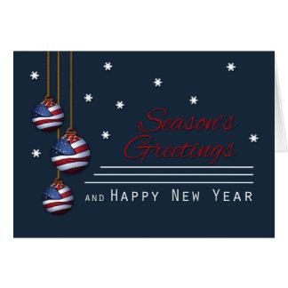 Patriotic Season's Greetings U.S. Flag Ornaments Card