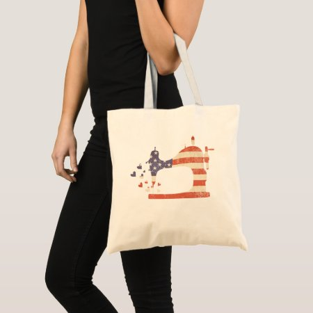 Patriotic Sewing Machine Tote Bag