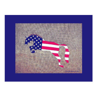 Patriotic Show Jumper horse red white blue Postcard