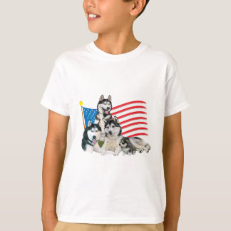 Patriotic Siberian Husky Family T-Shirt