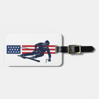 Patriotic Skiing Design Luggage Tag