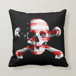 Patriotic Skull and Crossbones Throw Pillow