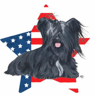 Patriotic Skye Terrier - American Flag Star Cutout