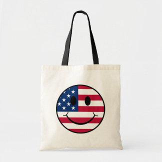 Patriotic Smiley Budget Tote Bag