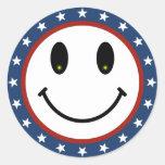 Patriotic Smiley Classic Round Sticker