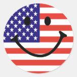 Patriotic Smiley Face Classic Round Sticker