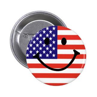 Patriotic Smiley Face Pinback Button