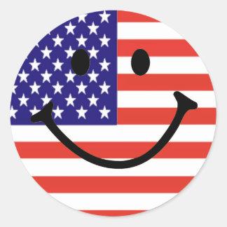Patriotic Smiley Face Round Stickers