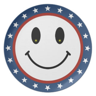 Patriotic Smiley Melamine Plate