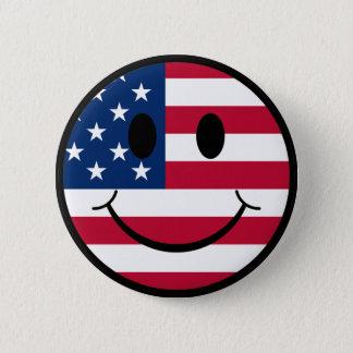 Patriotic Smiley Pinback Button