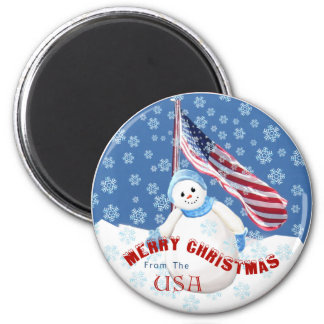 Patriotic Snowman Christmas Magnet with American F