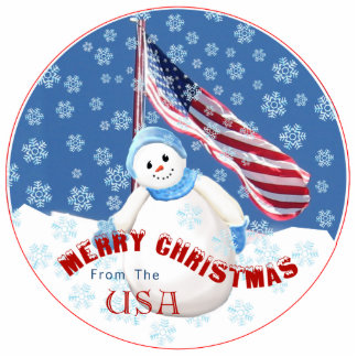 Patriotic Snowman Christmas Ornament with American
