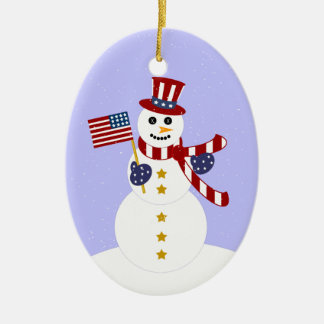 Patriotic Snowman Christmas Oval Ornament