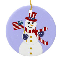 Patriotic Snowman Christmas Round Ornament
