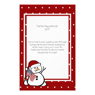 Patriotic Snowman Family Letter Stationery Design
