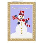 Patriotic Snowman & Flag Christmas Card