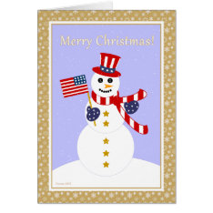 Patriotic Snowman & Flag Christmas Card at Zazzle
