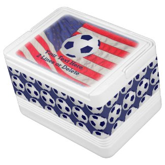 Patriotic Soccer Ball Igloo Cooler, American Flag