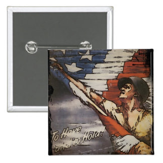 Patriotic Soldier Holding Flag Button