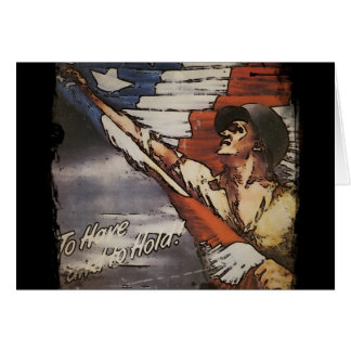 Patriotic Soldier Holding Flag Card