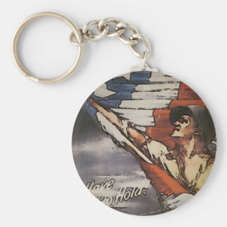 Patriotic Soldier Holding Flag Keychain